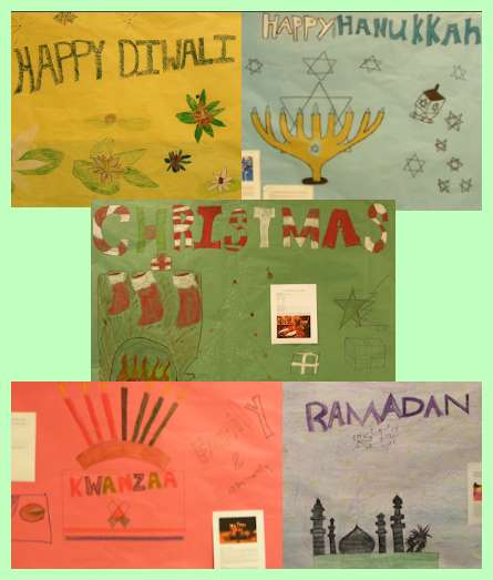 Campus Community students artwork creates large hallway murals displays of the five world cultural holiday traditions